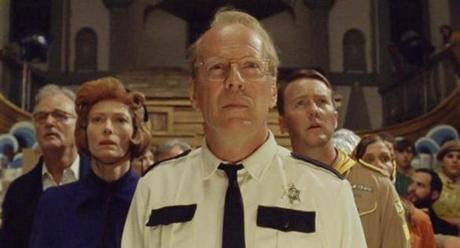 "From left: Bill Murray, Tilda Swinton, Bruce Willis, and Edward Norton in ""Moonrise Kingdom."""